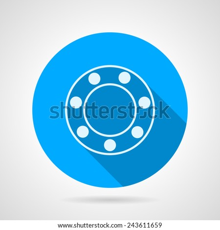 Ball bearing flat vector icon. Blue round vector icon with white silhouette ball bearing on gray background. Flat design with shadow. - stock vector