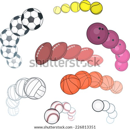 Ball collection, with Football ball, Basket ball, Tennis ball, Softball ball, Golf ball, Rugby ball, Volley ball, Bowling ball. Vector illustration cartoon.  - stock vector