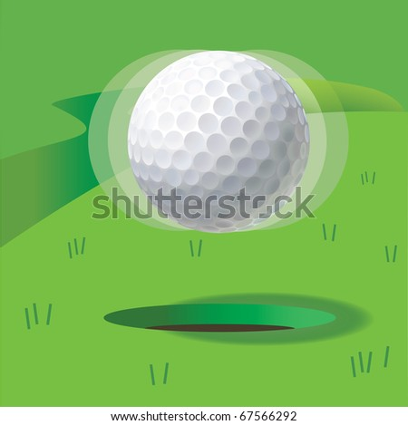 Ball for a golf in a levitation condition over hole - stock vector