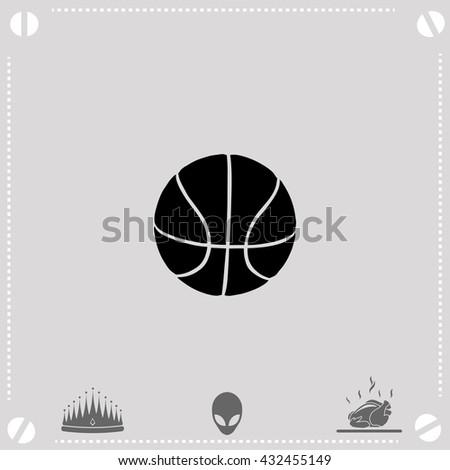 Ball for basketball icon. Ball for basketball vector. Gray background. - stock vector