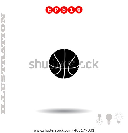 Ball for basketball icon. Simple black vector symbol. Logo for web. Image for business. - stock vector