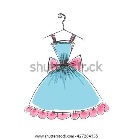 ball gown hand drawing sketch female blue short on a hanger on a white background - stock vector