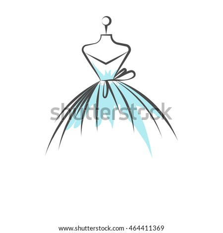 ball gown mannequin hand drawing illustration on a white background