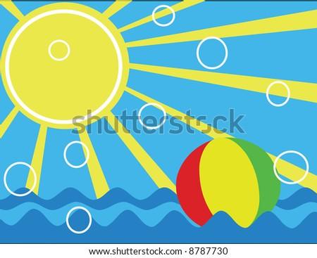 ball in the ocean,vector illustration - stock vector