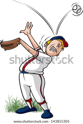 Ball off Head. A vector cartoon of a Little League outfielder missing a catch. - stock vector