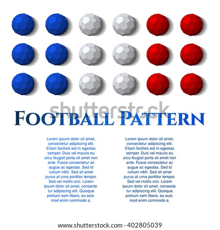 Ball on background. Football (soccer) vector in the colors of the France flag, cover. Eps10 - stock vector