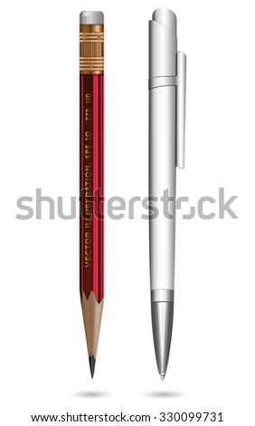 Ball pen & pencil on a white background. Vector illustration. - stock vector