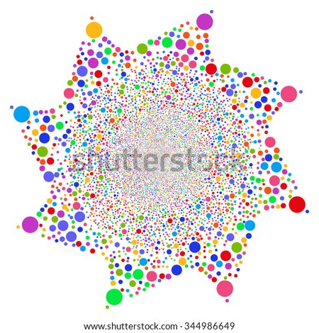 Ball Salute Flower vector illustration. Style is bright multicolored flat circles, white background.