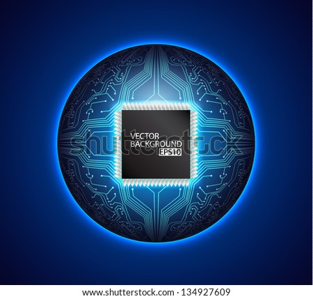 Ball with circuit board texture. Technology background. EPS10 vector - stock vector