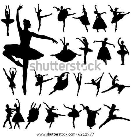 ballerina and ballet vector - stock vector