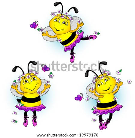 Ballerina bees dancing with flowers and butterflies. Vector.