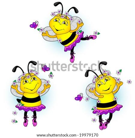 Ballerina bees dancing with flowers and butterflies. Vector. - stock vector