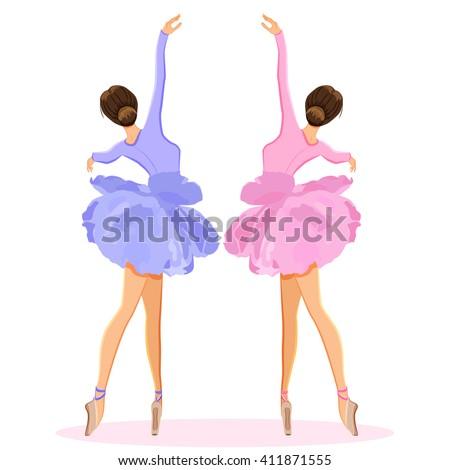 Ballerina dancing on pointe, ballet shoes in flower tutu skirt. Vector illustration set isolated on white background - stock vector