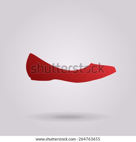 Ballerina flats - women's shoe, the silhouette. Menu item in the web design. - stock vector