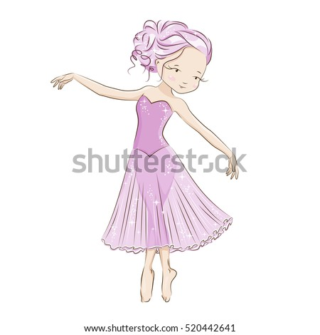 Ballerina. Graceful little dancer . She is dancing in light, beautiful pink dress. Hand drawn illustration.