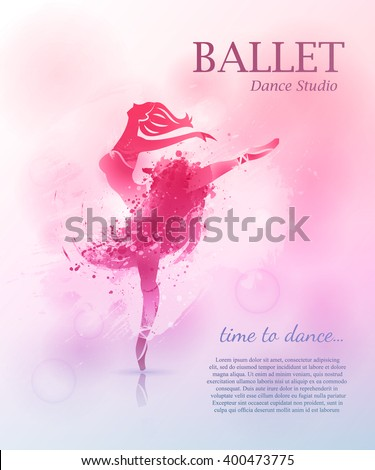 Ballerina in dance. Vector poster perfect for ballet school or studio, dance studio, performance. Flyer, invitation, poster or greeting card design template with ballerina on watercolor background.