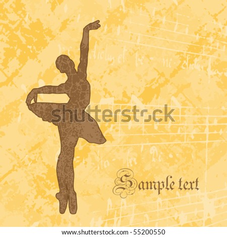 ballet- background with a ballerina silhouette, vector illustration - stock vector