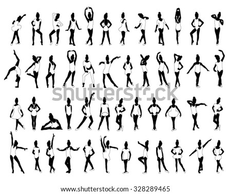 Ballet,Gymnastics,Little girls dancing,posing,sports,isolated on white background,editable