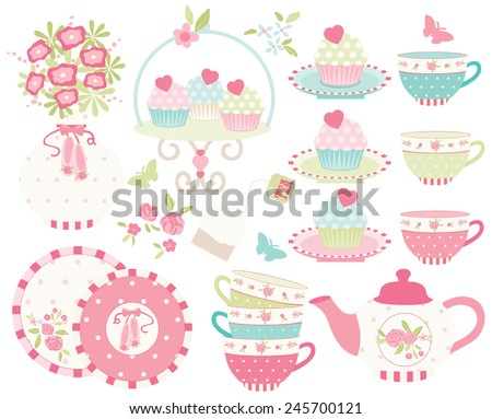 Ballet Princess Tea Garden - 2 - stock vector
