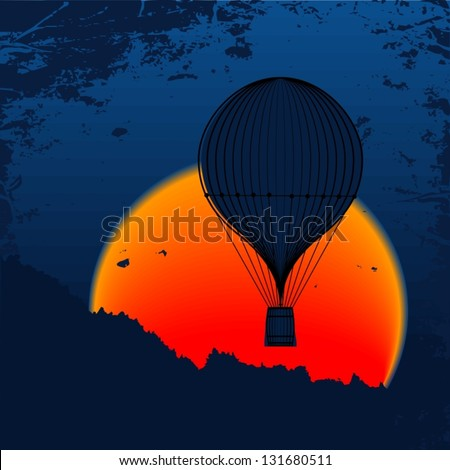 Balloon flying in the sunset over the mountain peaks. Vector