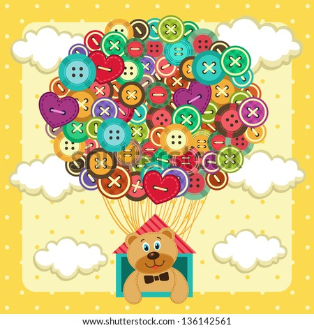 balloon from  of buttons - stock vector