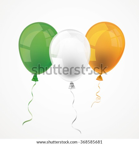 Balloon in irish national colors on the white. Eps 10 vector file.