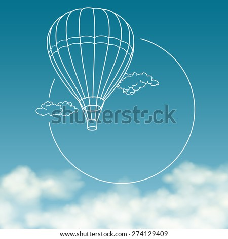 Balloon on background of cloudy sky with space for text - stock vector