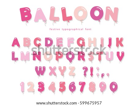 Charming Balloon Pink Font. Cute ABC Letters And Numbers. For Birthday, Baby Shower.
