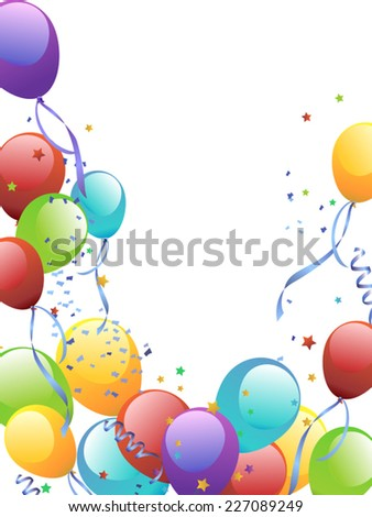 Balloon Release with Copy Space in center - stock vector