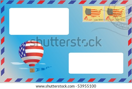 Balloon represented on a blue envelope with two pasted stamp - stock vector