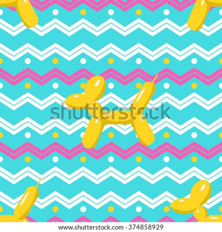 Balloon seamless pattern, beautiful colorful puppy illustration. Vector inflatable dog balloon for festival celebration. Animal background for children and family. Flat happy baby birthday design. - stock vector