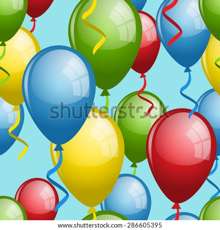 Balloon seamless pattern, vector illustration for your design, eps10 - stock vector