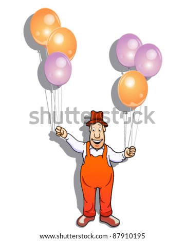 Balloon seller - stock vector