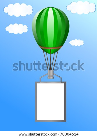 Balloon with a banner against the blue sky with clouds - stock vector