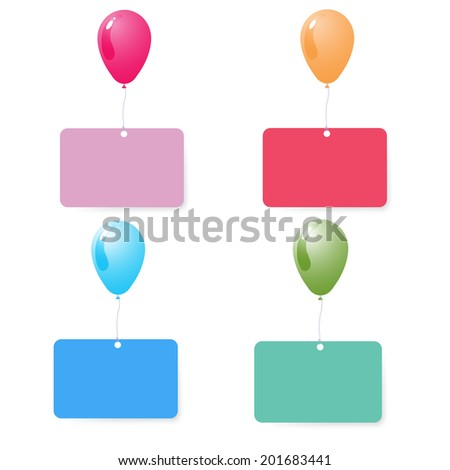 balloon with blank card set vector  - stock vector