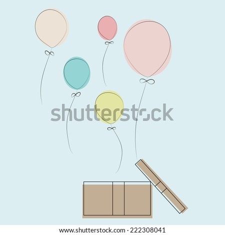 Balloon with opened box - stock vector