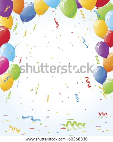 Balloons and confetti vector layout with reflective floor - stock vector