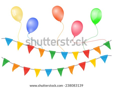 Balloons And Flags - stock vector