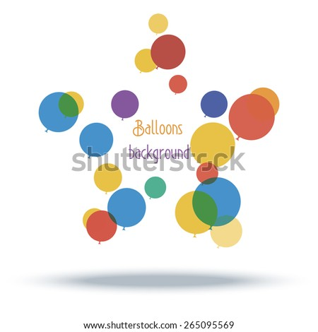 Balloons background with shadow, colorful. Vector illustration, eps10 - stock vector