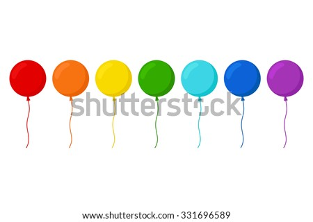 Balloons. Balloons set in rainbow colors. Isolated balloons on white background. Flat style vector illustration.  - stock vector