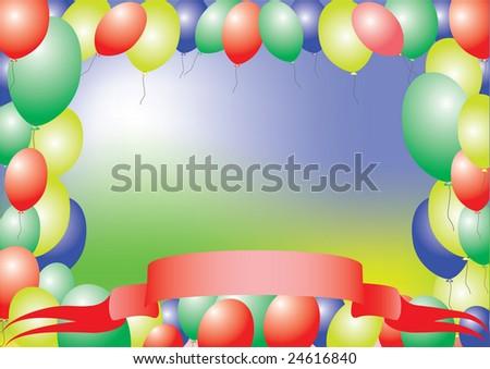 balloons 2. Colorful card - stock vector