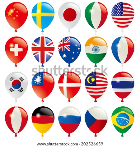 Balloons Flags of the world - stock vector