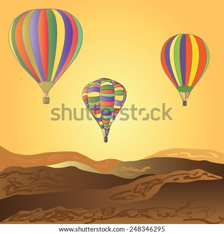 Balloons fly over the desert. Sunset. - stock vector