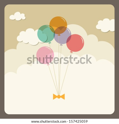 balloons flying in the sky - stock vector