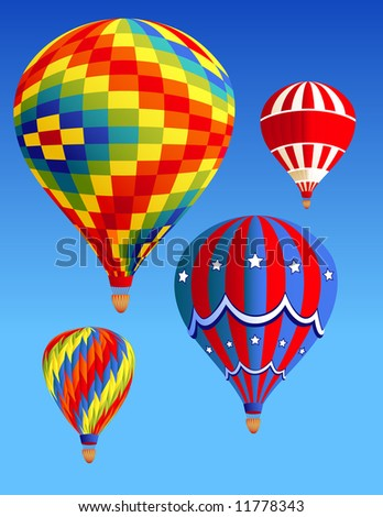 Balloons flying in the sky, vector illustration, EPS file included