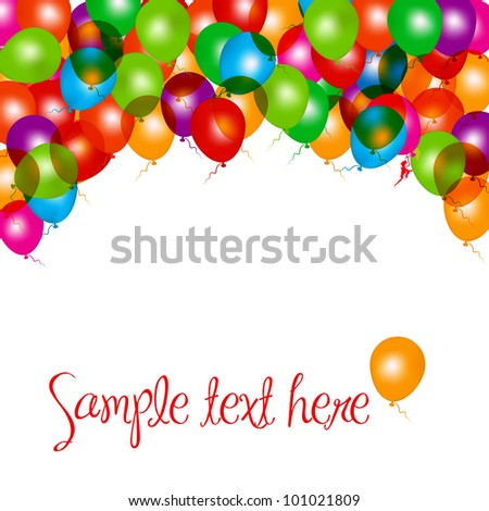 Balloons frame composition on white. Vector illustration - stock vector