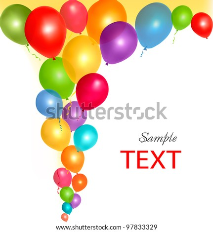 Balloons frame composition with space for your text. Vector illustration. - stock vector