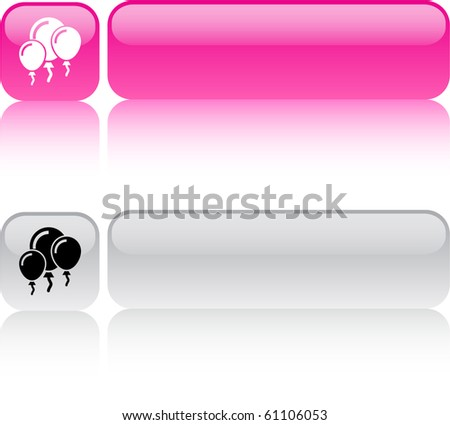 Balloons glossy square web buttons. - stock vector