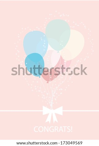 balloons greeting card background vector - stock vector