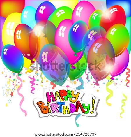 Balloons Happy Birthday. Vector - stock vector